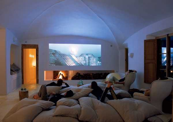 Dark Ceiling With Spot Lights And Movie Themed Decor For Home Theater  Interior Decorating