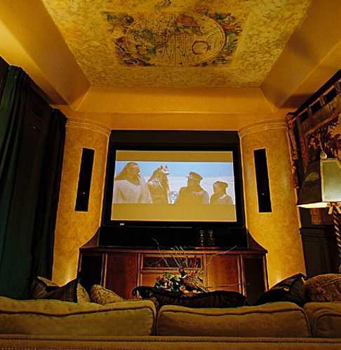 ceiling painting and dark theater curtains