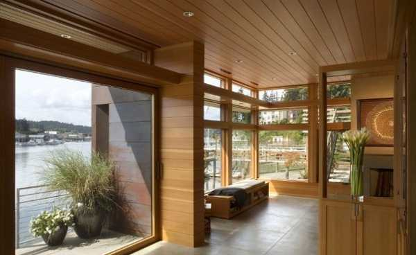 Wooden Ceiling Design And Large Windows With Frames Contemporary Interior