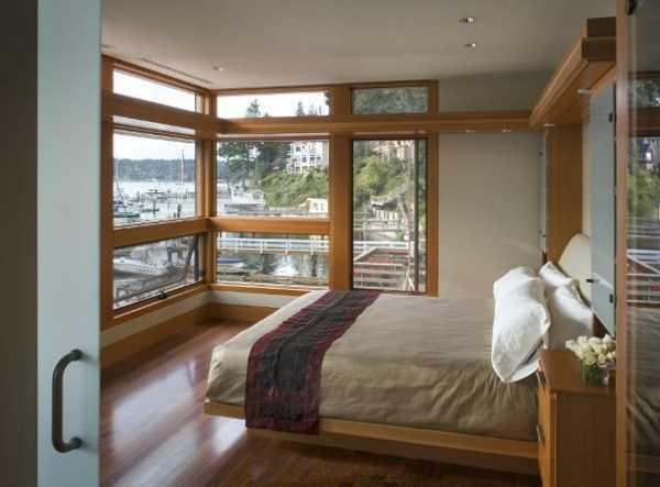 Corner Windows With Wood Frames Bedroom Design Large