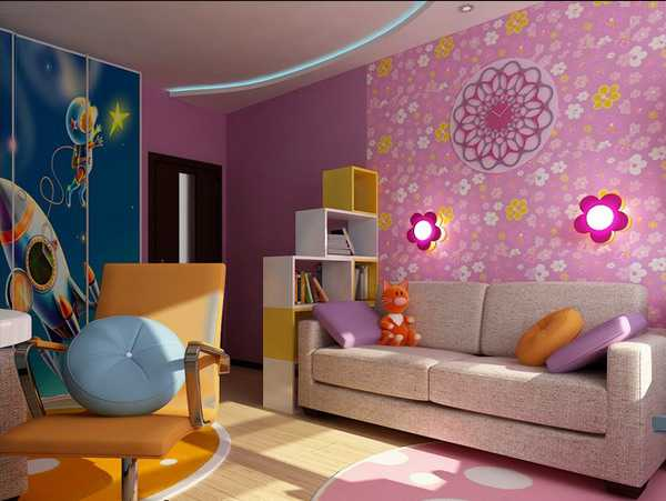Children Bedroom Decorating With Two Colors For Boy And Girl