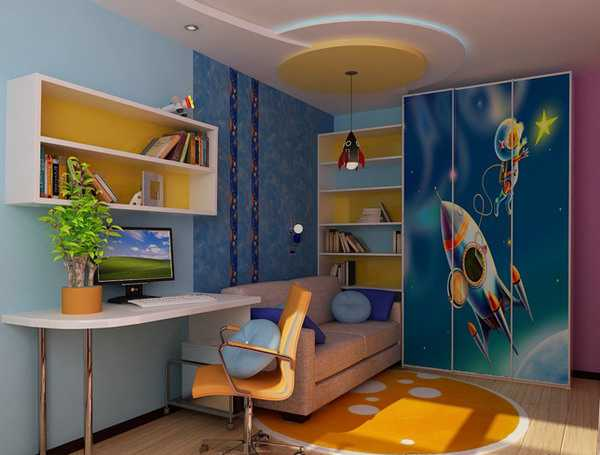 Boys bedroom decorating ideas and blue room decorating colors & Kids Room Decorating Ideas for Young Boy and Girl Sharing One Bedroom