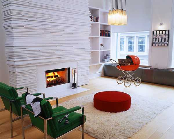 white painted wood fireplace and chairs