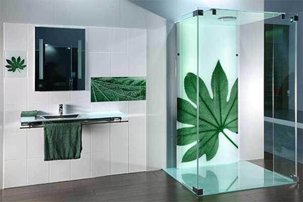 glass shower enclosure with green leaf pattern