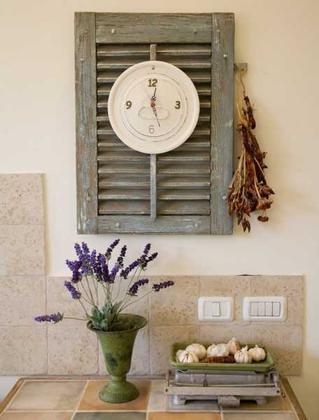 window shutter with wall clock