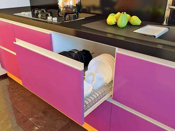 pink kitchen cabinets with drawers