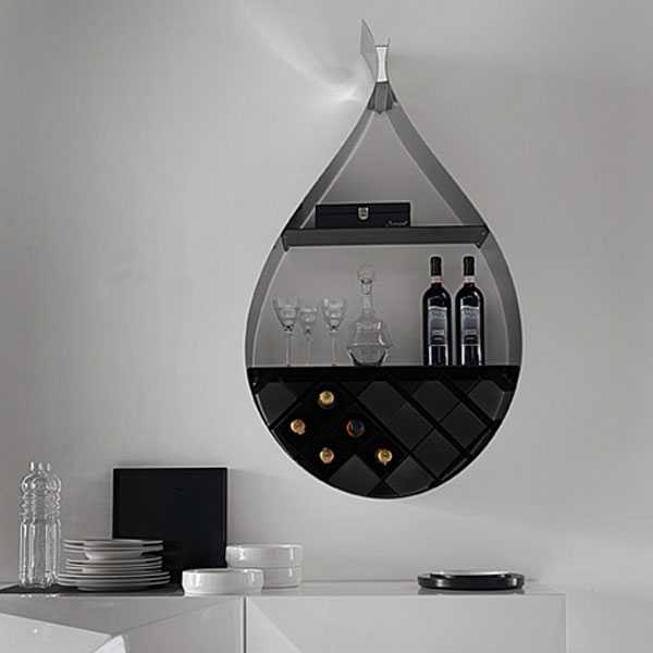 Wall Mounted Wine Rack Adds Seducing Drop Shaped Design To Dining