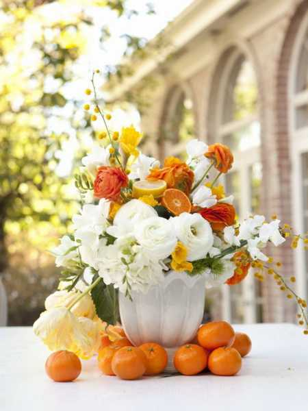 orange flowers and fruits