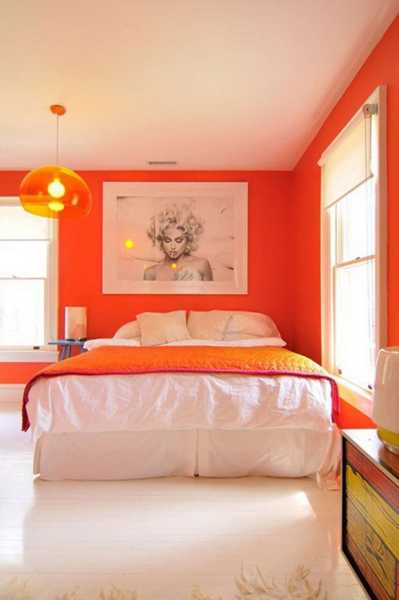 Bright Orange Wall Paint And White Bedding For Bedroom Decorating