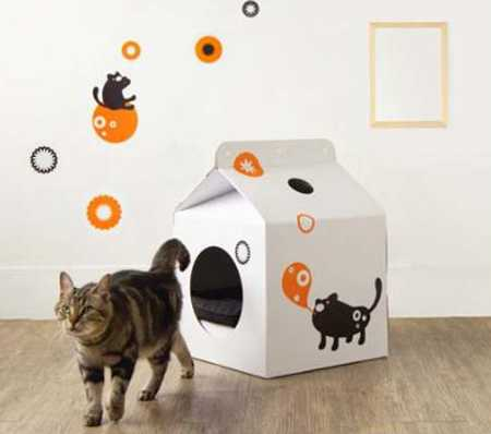 diy cardboard cat house