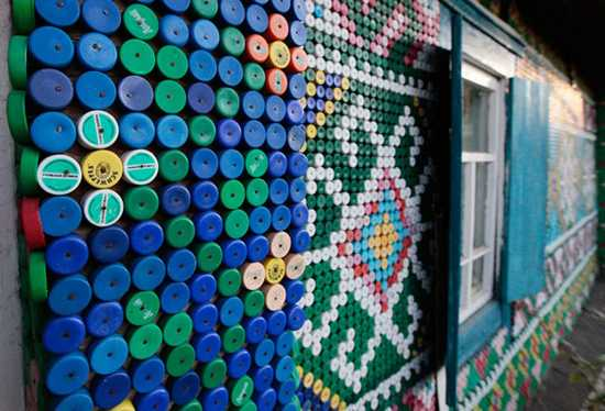 ethnic decoration patterns made with plastic caps
