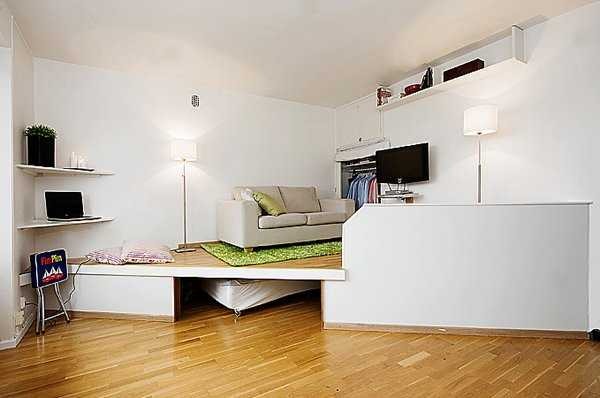 Ordinaire Sliding Bed (or Bed On Rollers) And Corner Shelves Are Space Saving Ideas  For Small Rooms. Decorative Raised Floor ...