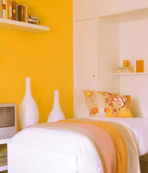 yellow paint and bedroom decor accessories