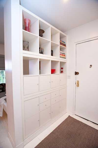 room divider with storage shelves