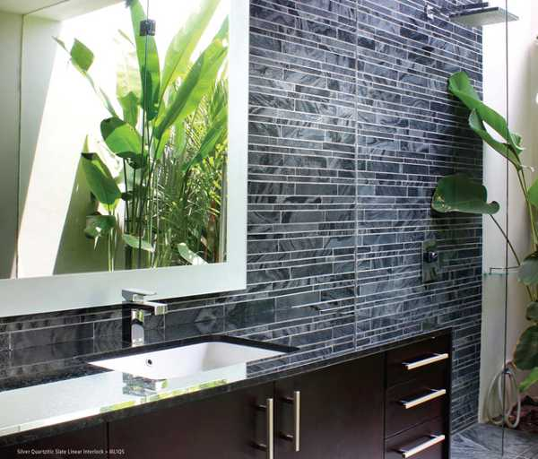 Slate Stone Tiles For Bathroom Wall Design