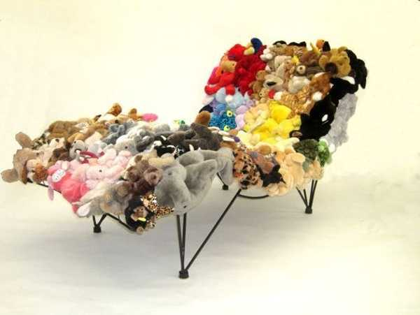 day bed made from stuffed toys
