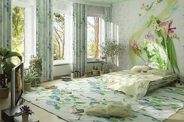 Youthful Bedroom Decorating In Green And Blue Colors