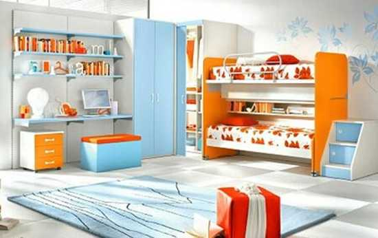 Camerette Unisex : Terracotta orange colors and matching interior design