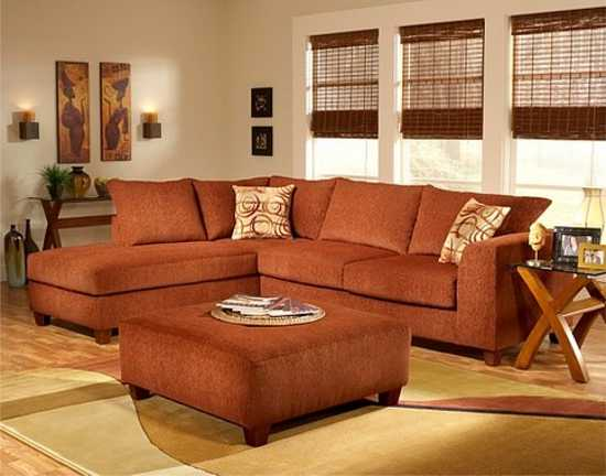 colored living room furniture terracotta orange colors and matching interior design 17530