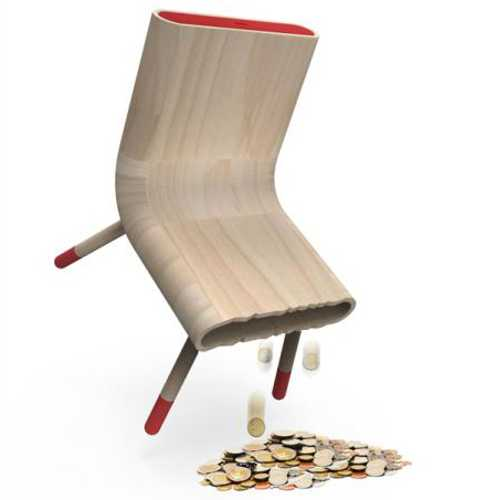 designer chair piggy bank