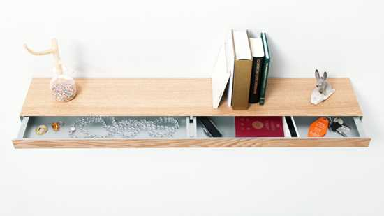 Floating Shelf With Sliding Drawer For Small Storage