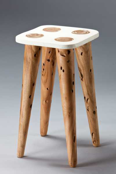 wood stool woth white seat