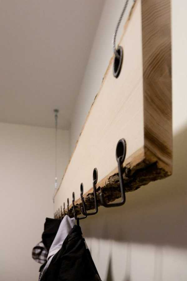 wood shelf design with hooks