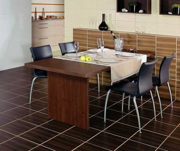 Modern Dining Room Decorating With Floor And Wall Tiles