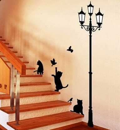 staircase wall decoration with stenciling