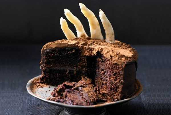 chocolate cake with fingers made of white chocolate