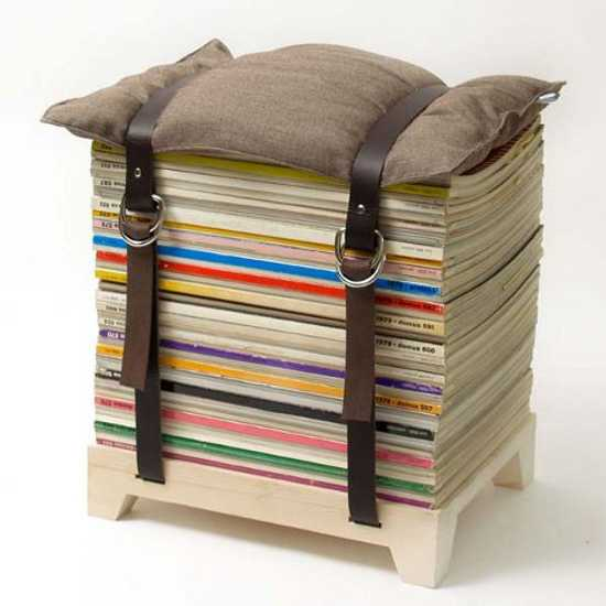 designer furniture, stool made of old magazines