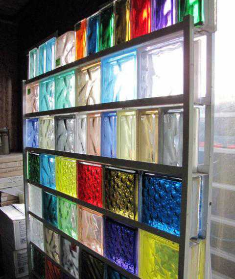 colored glass block wall design