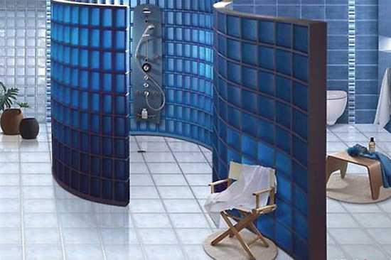 Glass Blocks For Bathroom, Blue Colored Glass Block Shower Wall Design