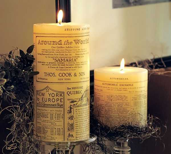 newspaper candles
