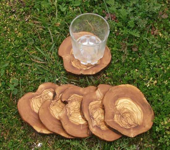 solid wood coaster set