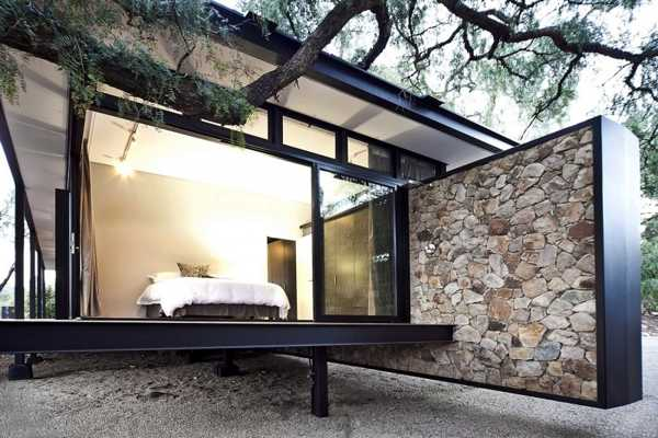Modern House Design Blending Stone Steel And Wood Into