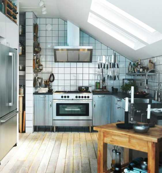 small kitchen design with inclined ceiling