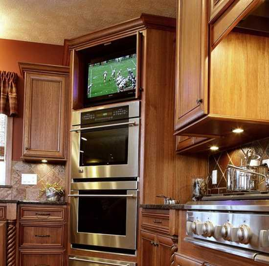 Wood Kitchen Cabinets With Built In Tv Modern Design Trends