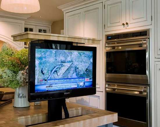 tv built in kitchen island