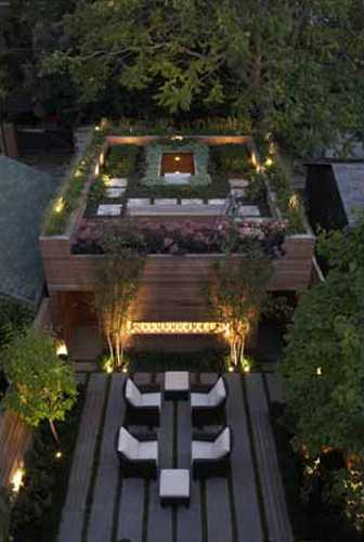 Rooftop Garden And Small Pond Romanticize House Design By
