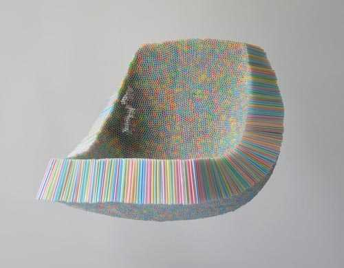 seat made of plastic straws