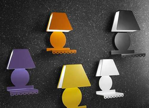 colorful wall lights with shelves