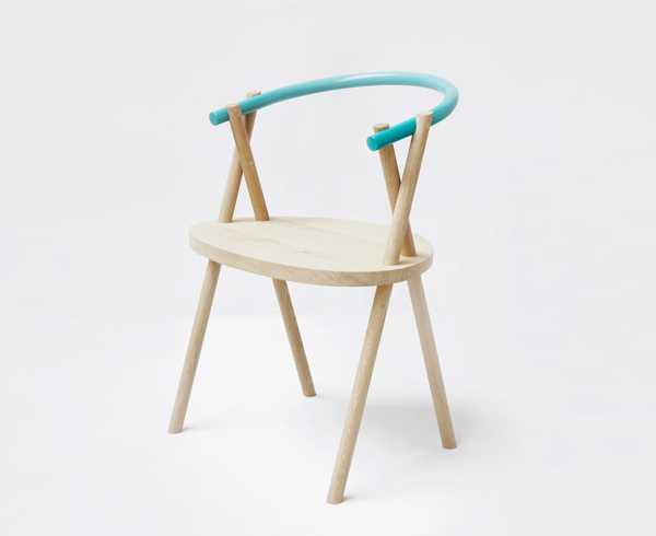 wood chair with steel rod back rest in turquoise color