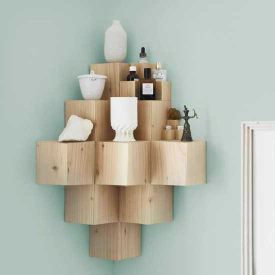 modular shelving unit made of wood lumber pieces