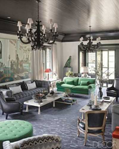 Green Furniture For Living Room With Black Ceiling