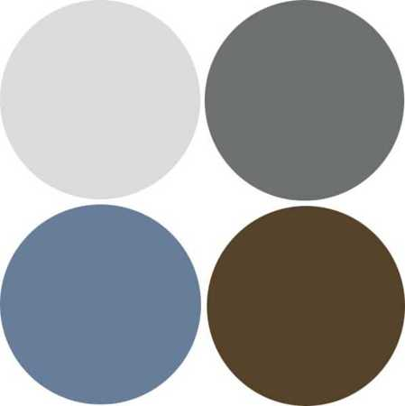 Modern Interior Decorating Color Scheme With Grayish Blue And Brown Colors