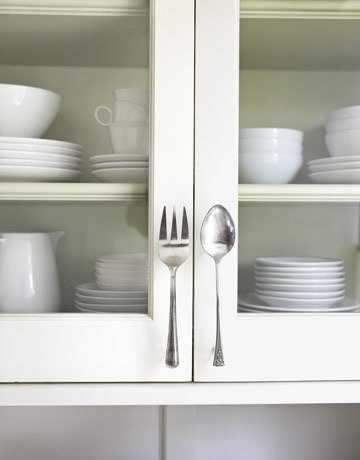 kitchen cabinet handles made of spoon and folk