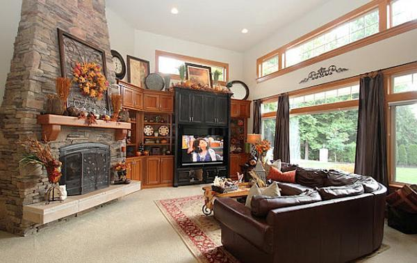 Beautiful Living Room Decorating With Fall Leaves, Stone Fireplace Wall  With Colorful Fall Wreath