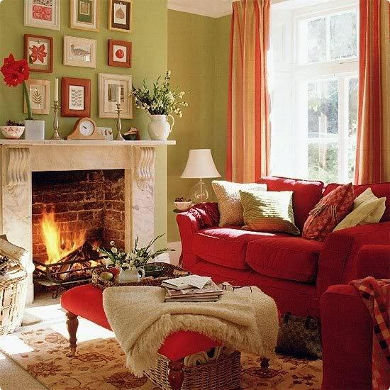 Red Ornaments For Living Room: Cozy Thanksgiving Decorating Ideas, Living Room Makeover