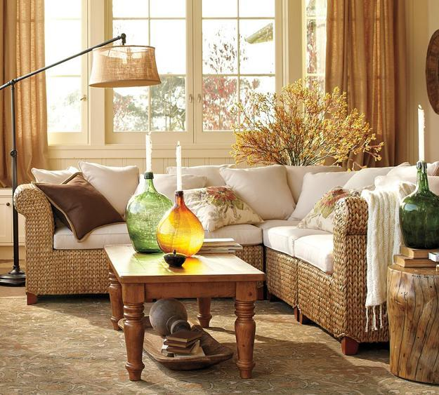 Cozy thanksgiving decorating ideas living room makeover in fall - Fall natural decor ideas rich colors ...